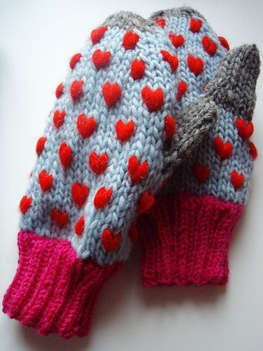 Knit Pattern Heart Mittens : Mittens, Knits and Heart on Pinterest