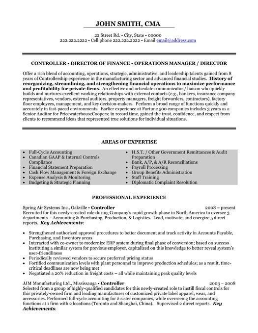 A Professional Resume Template For A Financial Controller Sample Resume Templates Manager Resume Accountant Resume