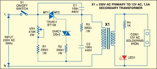 Temperature Controlled Soldering Iron Detailed Circuit Diagram Available In 2020 Soldering Soldering Iron Temperature Control