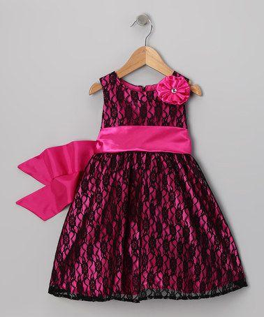 Look what I found on #zulily! Dark Pink & Black Lace Flower Dress - Infant #zulilyfinds