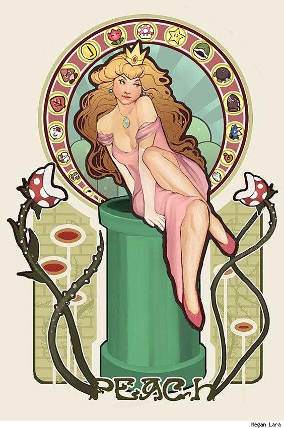 Princess Peach (Art Nouveau) by Megan Lara