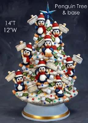 Ceramic Bisque Ready to Paint Penguin Tree with electric kit, Star & lights mold by Clay Magic...