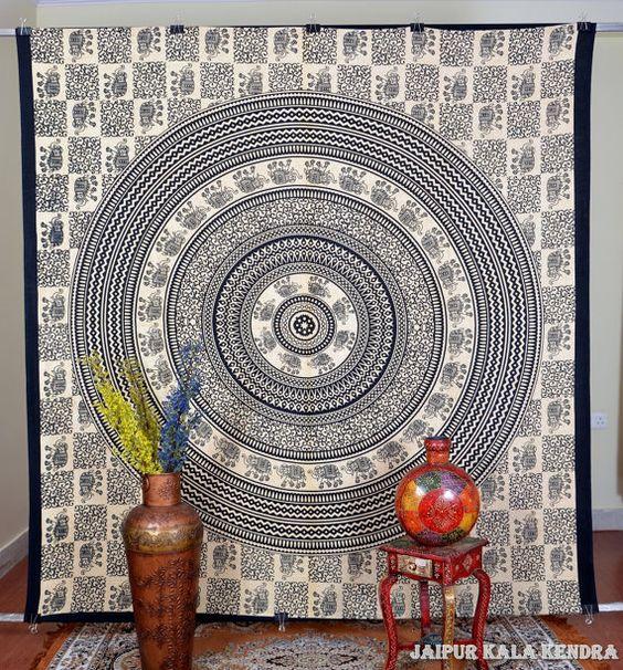 Cream Mandala Tapestry Indian Wall Hanging Boho Hippie Indian Dorm Bohemian Wall Hanging Queen Bedspread Throw Decor Art