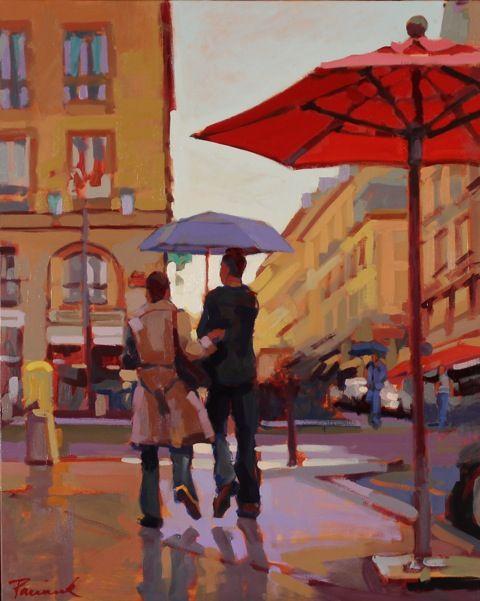 SOLD!  Paris Rain, 30 x 24, Oil on Canvas