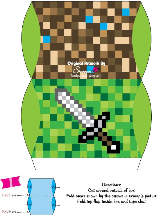 Minecraft treat boxes, free printable
