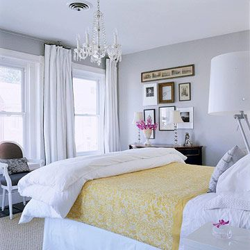gray + yellow with pops of hot pink