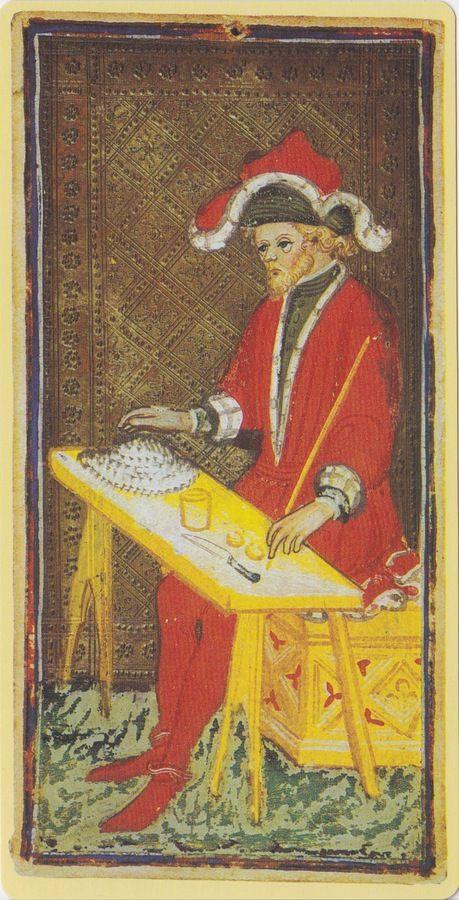 The Magician -- Pierpont Morgan Visconti Sforza Tarocchi Deck, Italy, Milan, ca. 1450: