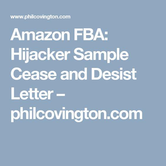 Amazon FBA Hijacker Sample Cease and Desist Letter - cease and desist order sample
