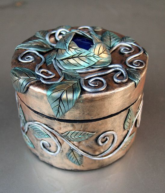 Gold Box with Blue Stone and Green and Silver Vines 2 by MaevinWren, via Flickr