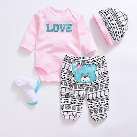 i-Auto Time Cute Newborn Baby Girl Clothes Giraffe Romper+Pink Dot Pant+Hat Outfit Set