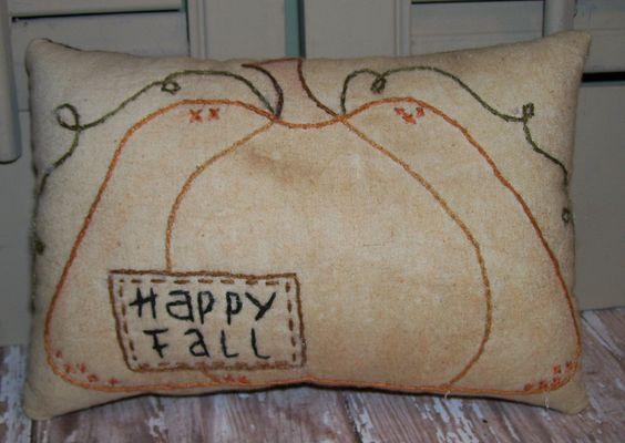 Primitive Home Decor: Holiday Fall Primitive, Fall Crafts, Fall Craft S, Fall Pillow Jpg 1600, Fall Stitchery, Fall Decorations, Holiday Decorations, Primitive Decor