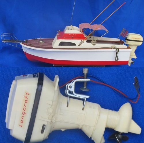Lang Craft Outboard Motor Speed Boat Model Toy Wood Deck