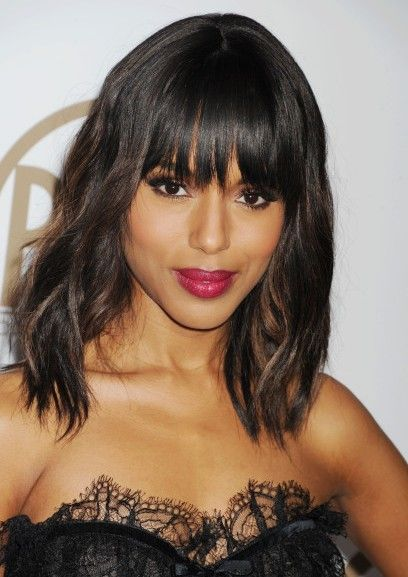 Medium Length Hair with Bangs by Kerry Washington - Best Hairstyles For Round Faces