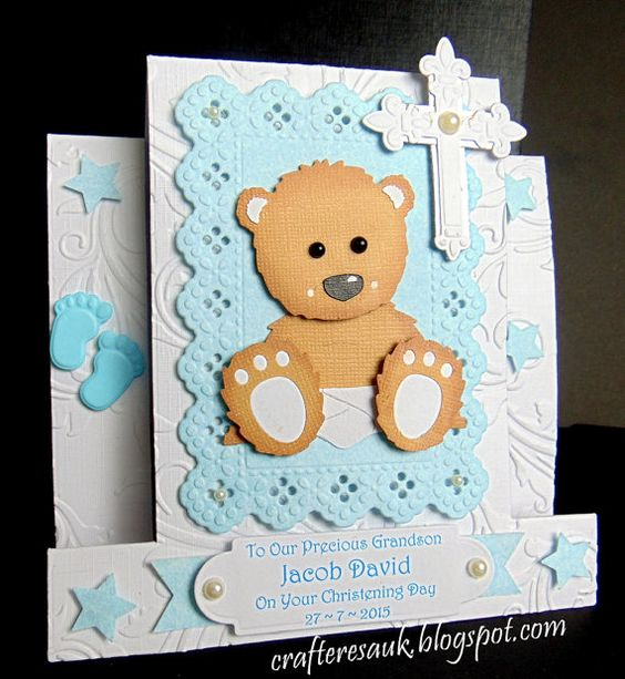 BABY BEAR CHRISTENING Handmade Personalised by HappyCraftiness