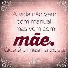 A vida não vem com manual, mas vem com mãe. que é a mesma coisa.