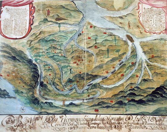 """Mitos en los Andes. Este mapa documenta una zona ubicada en las riberas del río Marañón, en Perú. Los indígenas aparecen vestidos en las zonas conquistadas y desnudos en las que están pendientes de conquistar. El explorador Salgado de Araujo lo usó para convencer a la Corona de que debía regresar a la zona: allí, describía, se podían encontrar """"esmeraldas a racimos""""."""