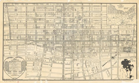 Central Loa Angeles 1931 Los Angeles Map Map Old Maps