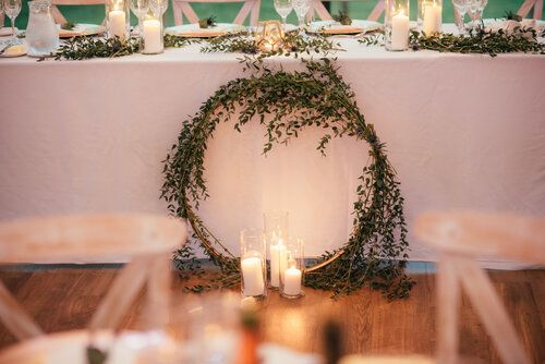 Top Table Decor With Gold Hoop And Eucalytptus Modern Styling By Sass Weddings In 2020 Wedding Styles Table Decorations Wedding Stylist