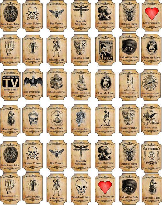 Halloween Magic Steampunk Mini Bottle Labels Glossy Stickers Set of 42 Crafts   eBay