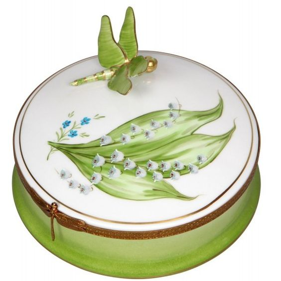 Personalized Lily of the Valley Porcelain Box with Dragonfly Limoges porcelain.