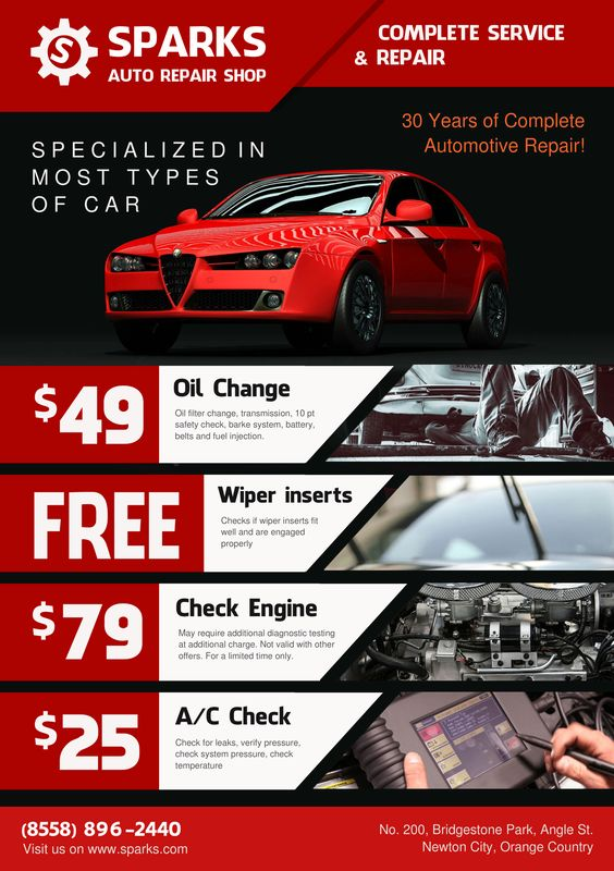showing post & media for auto repair shop has moved flyers | www, Invoice templates