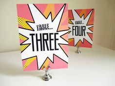 comic book table numbers, pop art table numbers, wedding table decor, super hero wedding table decor