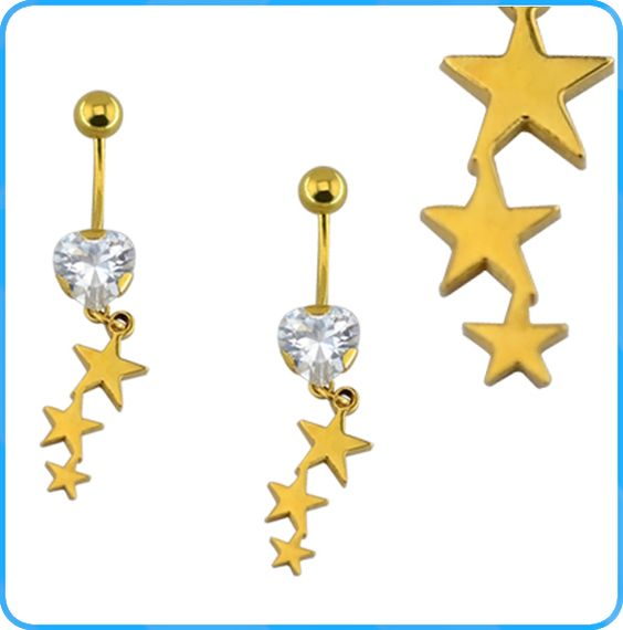 BR01531 Cheap and beautiful star shape custom stainless steel crystal belly button ring
