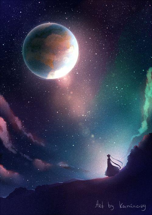 rosen-und-mondlicht: Watching the Earth by kaminary-san