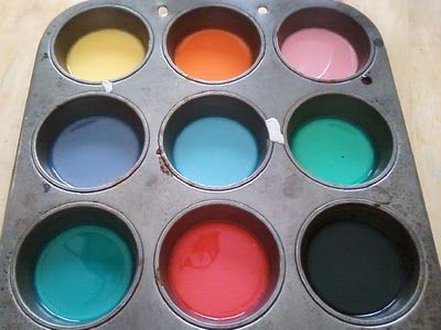 Sidewalk Chalk Paint - 1 cup water, 1 cup corn starch & food coloring.