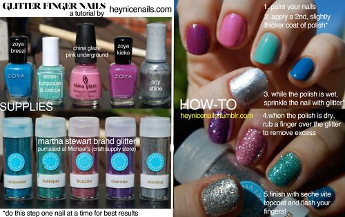 glitter nails ... i really need to go buy some of those awesome glitters from martha stewart's craft line at michael's ...