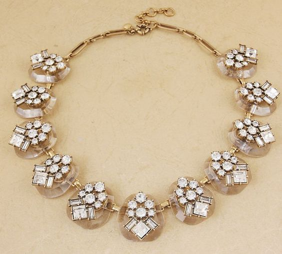 Handmade Crystal medals necklace Glass Stone bib by shop2lopez, $49.49