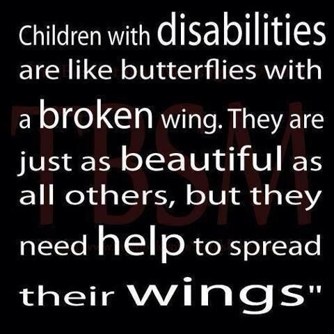 Children with disabilities are like butterflies with a broken wing.