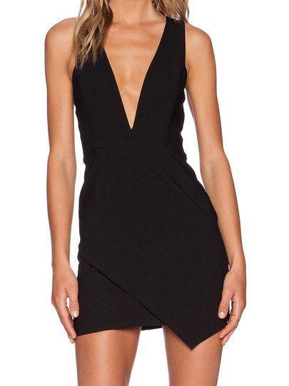 Black Bodycon Dress with Deep V Neck Black Sexy Party Holiday Dress