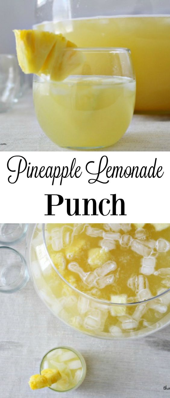 Pineapple Lemonade Punch is the perfect non-alcoholic beverage for any event.: