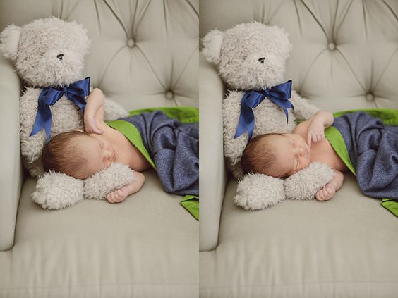 newborn portraits with teddy bear