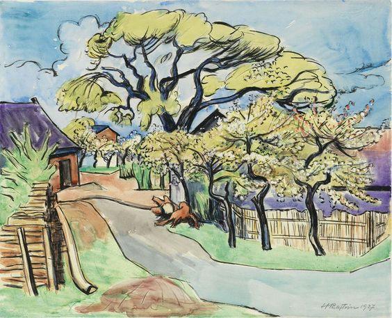 Max Pechstein (Germany 1888-1955) Blühende Bäume an der Dorfstraße - Flowering Trees on the Village Street (1927) aquarelle and gouache on cardboard 50 x 62 cm