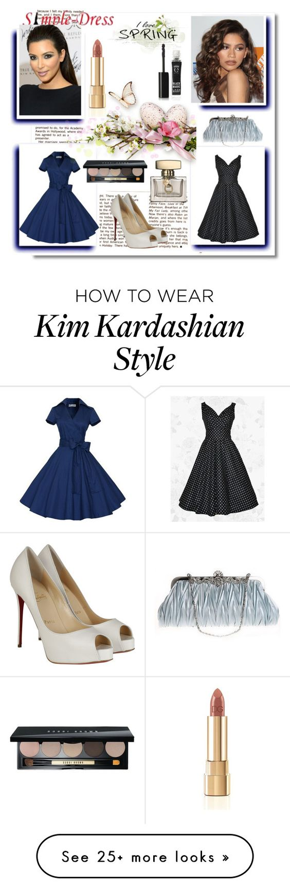 """Simpledress 27"" by zijadaahmetovic on Polyvore featuring Coleman, Christian Louboutin, Gucci, Eyeko, Dolce&Gabbana, Bobbi Brown Cosmetics, vintage and simpledress"