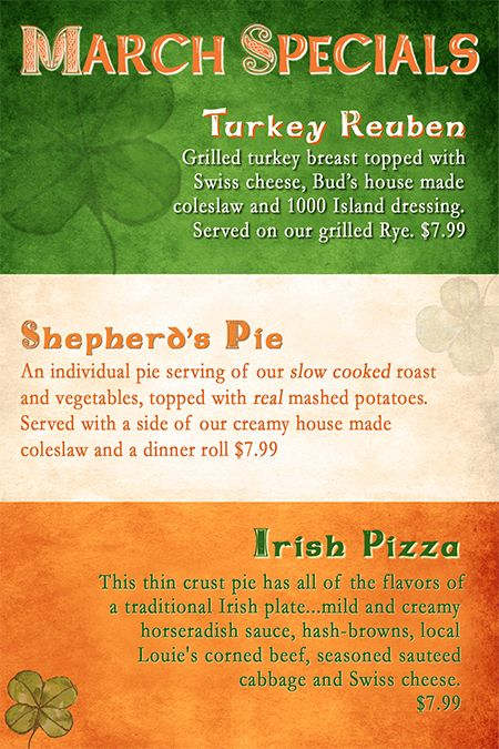 March 2012 Monthly Specials #Irish #Pizza