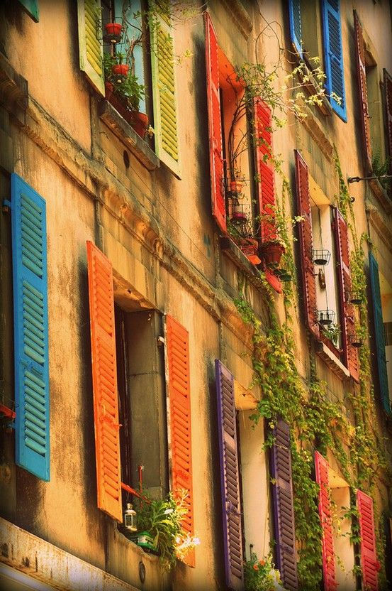 colorful shutters in Genoa, Italy