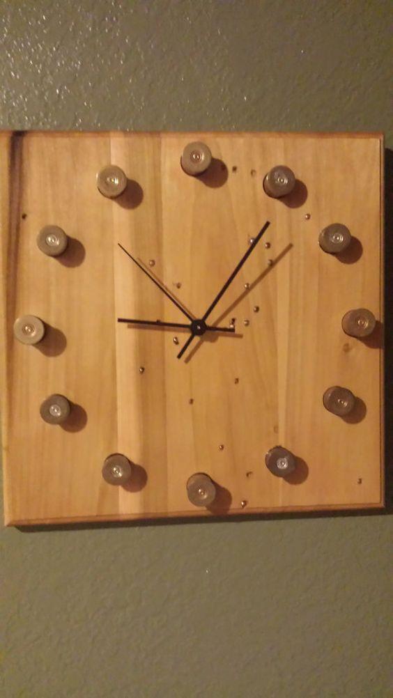 Wooden Clock Shotgun Shells Buck Shots Gift by BlendedCreationsInc, $45.00