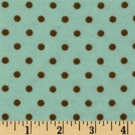 Flannelle imprimé - small dots - mint/brown