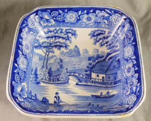 "8in square x 3in tall. Great 19th Cen. Staffordshire Blue Transfer Pearlware ""Wild Rose"" Vegetable Dish"