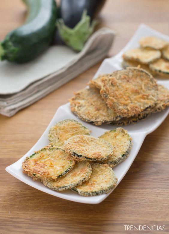 Chips de berenjena y calabacín. Receta de aperitivo