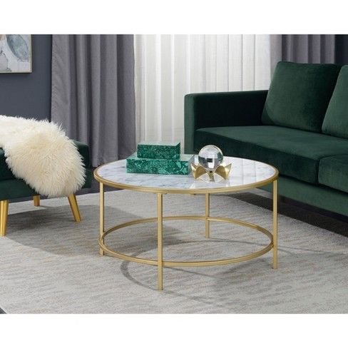 Gold Coast Faux Marble Round Coffee Table Faux Marble White