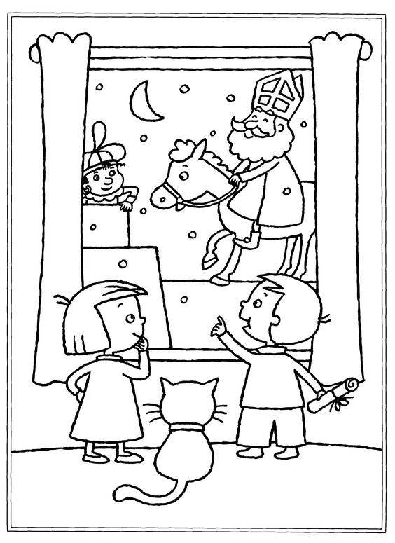 Diverse Sinterklaas kleurplaten.