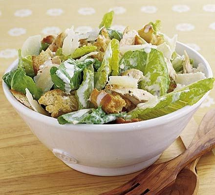 Still on the salads topic I had to include a classic chicken caesar. To cut costs I used half a chicken breast, cut into strips tossed in oil and dry fried. A dressing was made using Jamie's jam jar method and included mayo, lemon juice, dijon, lea and perrins and half a clove of garlic.
