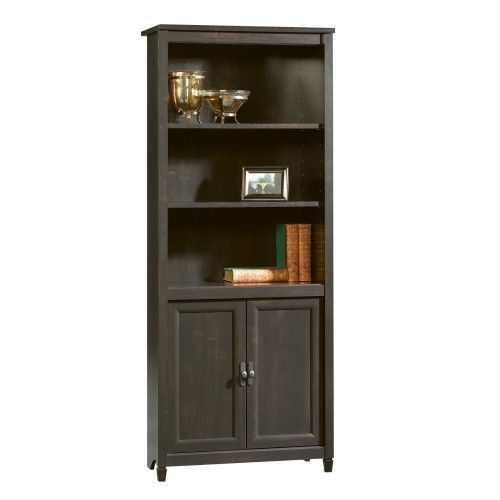 Sauder Edge Water Library with Doors, Estate Black, Free 2 Day Shipping, New  #Sauder