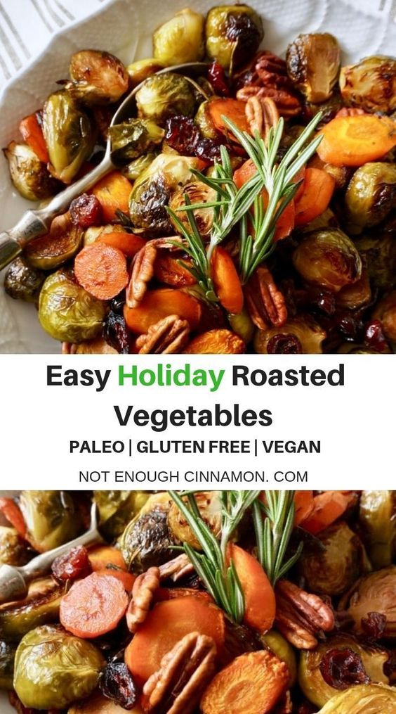 These easy oven-roasted vegetables with balsamic vinegar and maple syrup are the perfect side to serve alongside a Thanksgiving dinner! Cranberries and pecans add a festive touch to this simple sheet pan recipe! Paleo, vegan and gluten-free! #sidedish #christmas #Thanksgiving #side #healthy