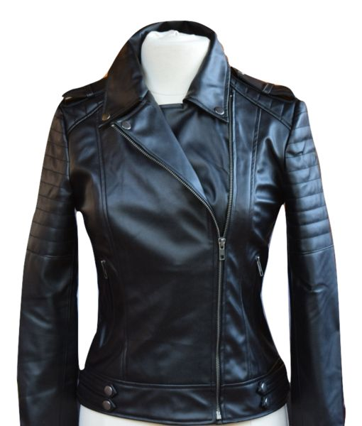 Womens Vegan Leather Moto 'Tiffany' Black.Buy In Store l James&Co
