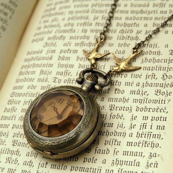 Amber Glass Pocket Watch Necklace  ||  Rag Trader Vintage